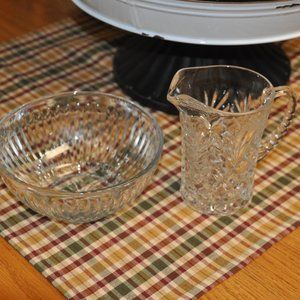 Cut Glass Pitcher and Bowl Set